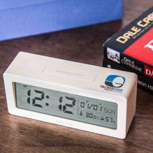 đồng hồ báo thức cao cấp in logo